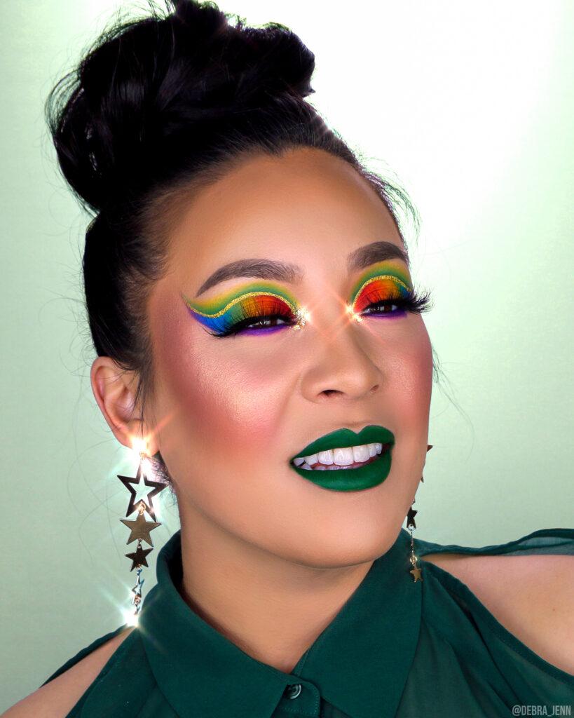 St Patricks Day Eyeshadow Rainbow cut crease