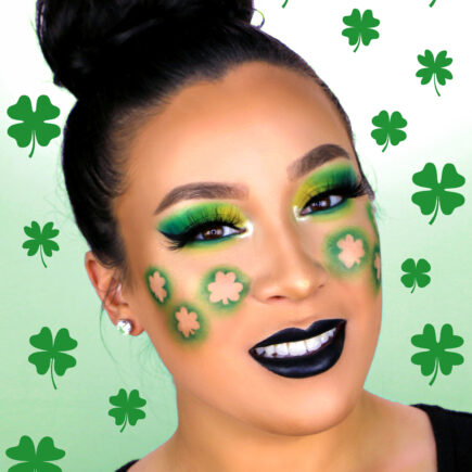 St Patricks Day Makeup with green eyeshadow and shamrocks on cheeks