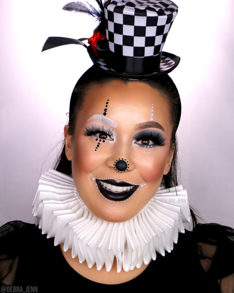 Easy Clown Makeup with black and white face paint