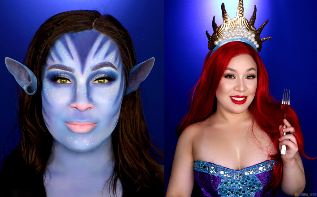 cosplay halloween costumes: blue alien from avatar on the left and ariel from the little mermaid on the right, combing her hair with a fork