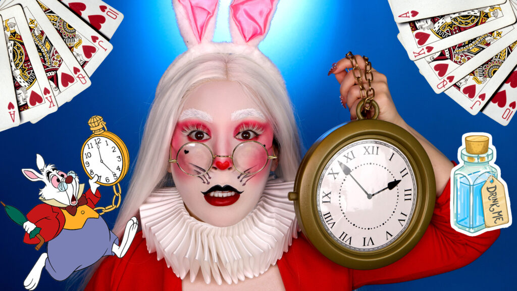White Rabbit Makeup for Halloween Costume with white face paint, red eyeshadow, bunny ears, holding clock